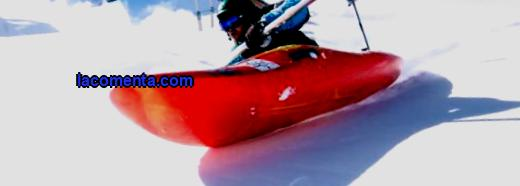 Snow kayaking or snow boating