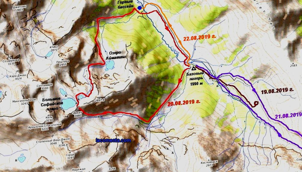 Overview of the route from the Sofia Valley through the Irkiz pass to the Sofia Lakes, Lake Aimatly-Dzhagaly and back. 11 hours of walking in a company with children 10 years old.